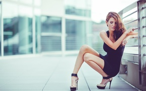 girl, brunette, squatting, city, black dress, black
