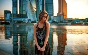 girl, river, city, model, brunette, dress