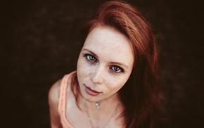 redhead, freckles, portrait, model, girl, face