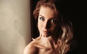 girl, face, bare shoulders, blonde, model, blue eyes