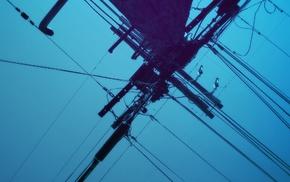 sky, blue, utility pole