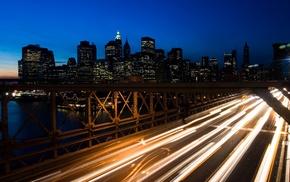 long exposure, cityscape, New York City, Brooklyn Bridge, bridge