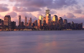 sunset, city, bay, New York City, skyline