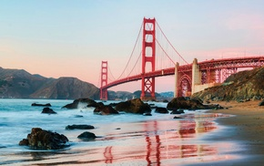 sea, architecture, bridge, beach, Golden Gate Bridge, Golden Bridge