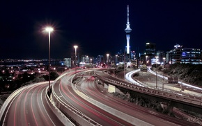 highway, night, long exposure, cityscape