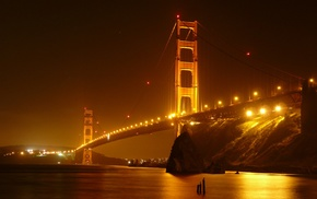 city lights, San Francisco, bridge, Golden Gate Bridge, night
