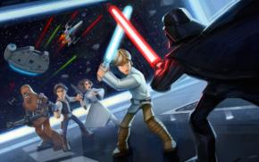 Chewbacca, Disney, Star Wars, Millennium Falcon, Luke Skywalker, Princess Leia