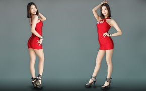brunette, gray background, Asian, high heels, Go JinYoung, K