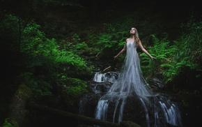 waterfall, fantasy art, girl, photo manipulation