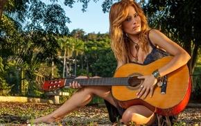 guitar, girl, blonde
