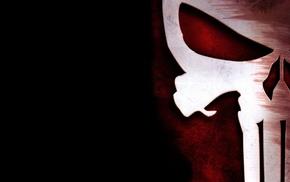 skull, The Punisher, Marvel Comics, black background, logo