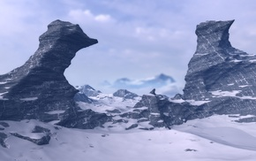 snow, rock, multiple display, sky, mountains