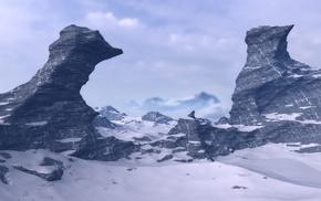 snow, rock, multiple display, sky, mountains