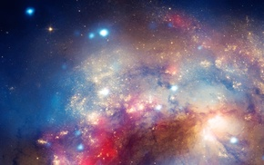 space, stars, multiple display, universe, galaxy, colorful