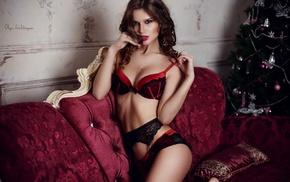 red lipstick, glamour, skinny, brown eyes, girl, lingerie
