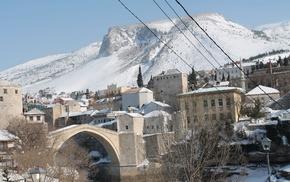 winter, river, neretva, Ottoman, snow, Ottoman Empire