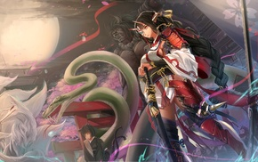 samurai, snake, Braided hair, fox, spear, anime