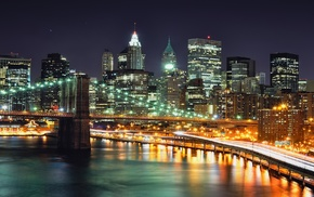 night, New York City, city lights, long exposure, bridge, city