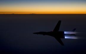 military aircraft, Rockwell B, 1 Lancer, sunset, Bomber