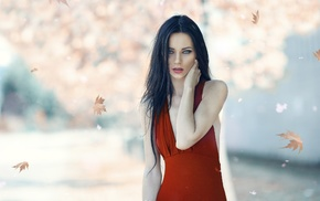 leaves, black hair, skinny, red dress, Alessandro Di Cicco, girl
