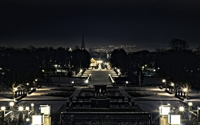 city lights, park, night, photography