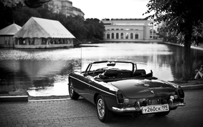 pond, water, photography, depth of field, monochrome, car