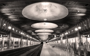 photography, monochrome, subway, architecture, train station