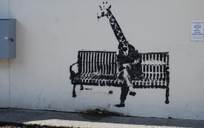 bench, artwork, street art, graffiti, legs, Banksy