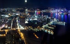 city, night, ports, harbor, photography, skyscraper