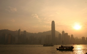 cityscape, photography, sunset, architecture, Victoria Harbour, Hong Kong