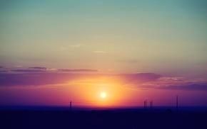 clouds, nature, sky, sunset, landscape, utility pole