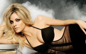 smoke, actress, long hair, cleavage, blonde, lying on side