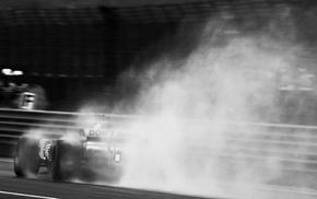 monochrome, photography, rain, race tracks, Formula 1