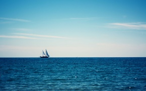 sailing, blue, ship, sailing ship, clouds, photography