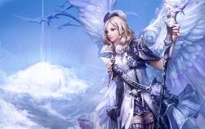 dragon, anime girls, Aion, staff, anime, wings