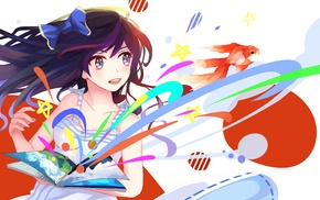 colorful, anime girls, original characters, books, goldfish, anime