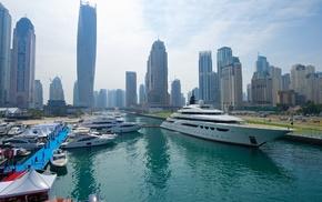 building, city, yachts, skyline