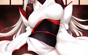 collars, torn clothes, white hair, cleavage, Rogia, kneeling