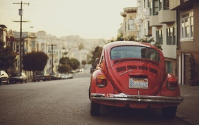Volkswagen Beetle, photography, road, urban, car, depth of field