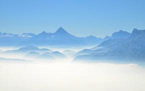 landscape, nature, mountains, photography, mist
