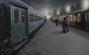 photography, train, train station, photo manipulation