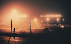 lights, chain, link, mist, photography, road