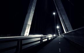 lights, architecture, night, urban, monochrome, bridge
