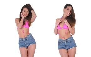 brunette, pierced navel, Lorena Garcia, bikini top, girl, smiling