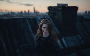 girl, rooftops, model