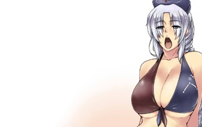 blue eyes, long hair, cleavage, Touhou, bikini, Yagokoro Eirin