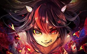 horns, smiling, red nails, Touhou, black hair, red eyes