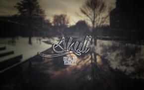 skull, text