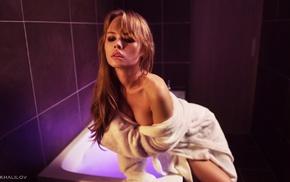 Anastasia Scheglova, blonde, bathroom, cleavage, bathrobes, sideboob