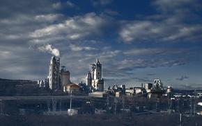 smoke, factories, industrial